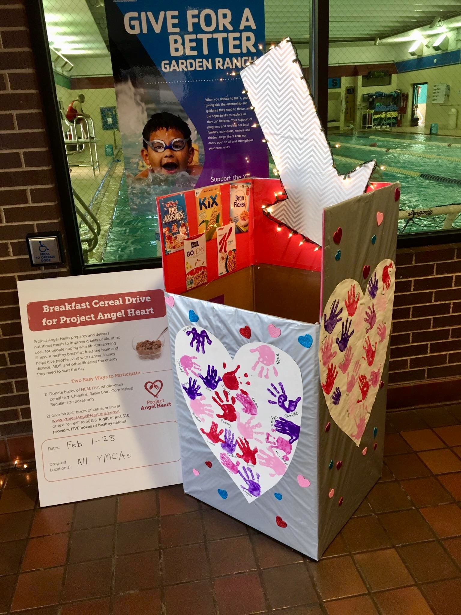 garden ranch ymca won the contest for the most festive cereal donation box - Garden Ranch Ymca