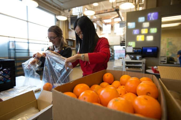 Volunteers pack oranges into plastic bags