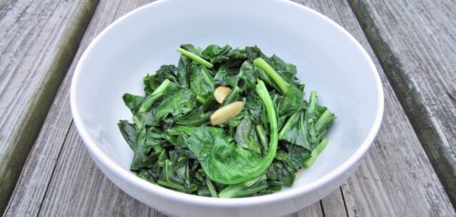 picture of cooked greens with garlic