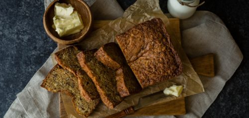 banana bread with side of milk and butter